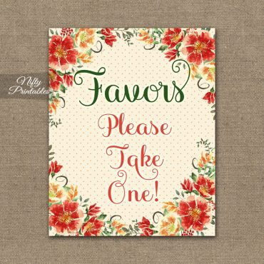 Favors Sign - Autumn Floral