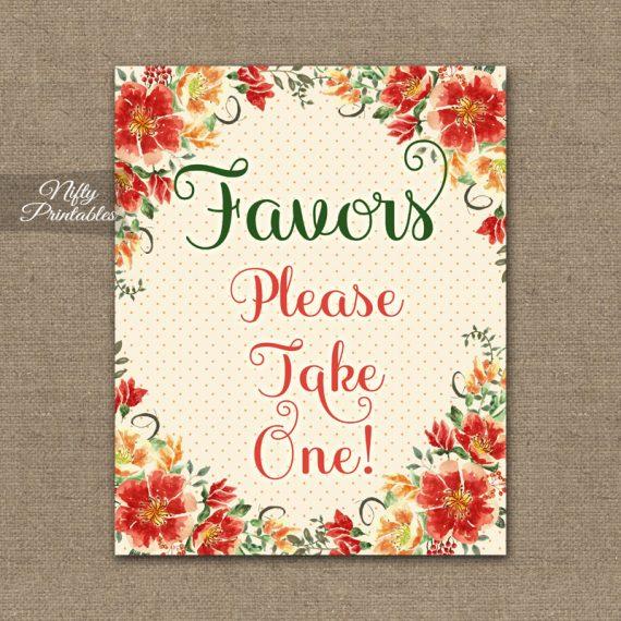 Favors Sign - Autumn Floral