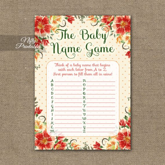 Name Game Baby Shower - Autumn Floral