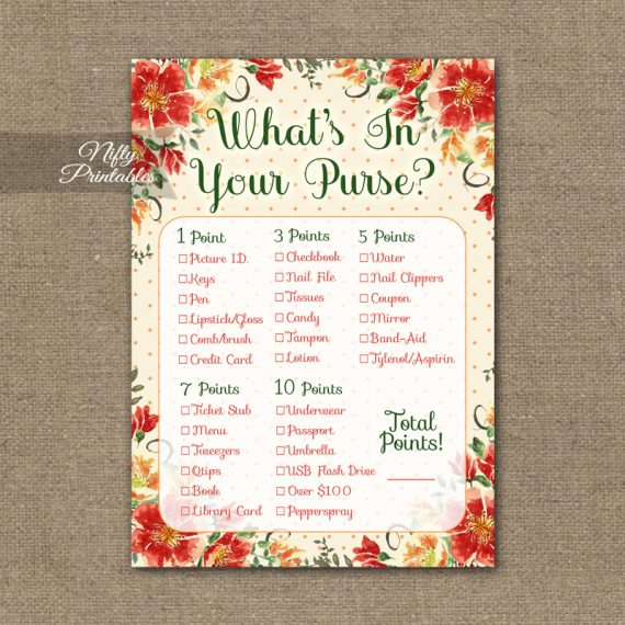 What's In Your Purse Game - Autumn Floral