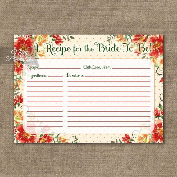 Bridal Shower Recipe Cards - Autumn Floral