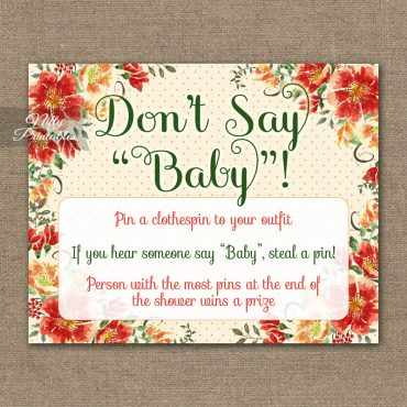 Don't Say Baby Shower Game - Autumn Floral