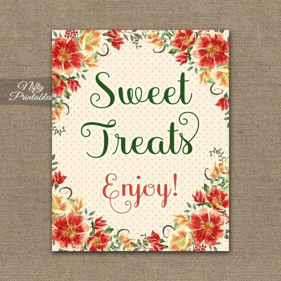 Sweet Treats Dessert Sign - Autumn Floral