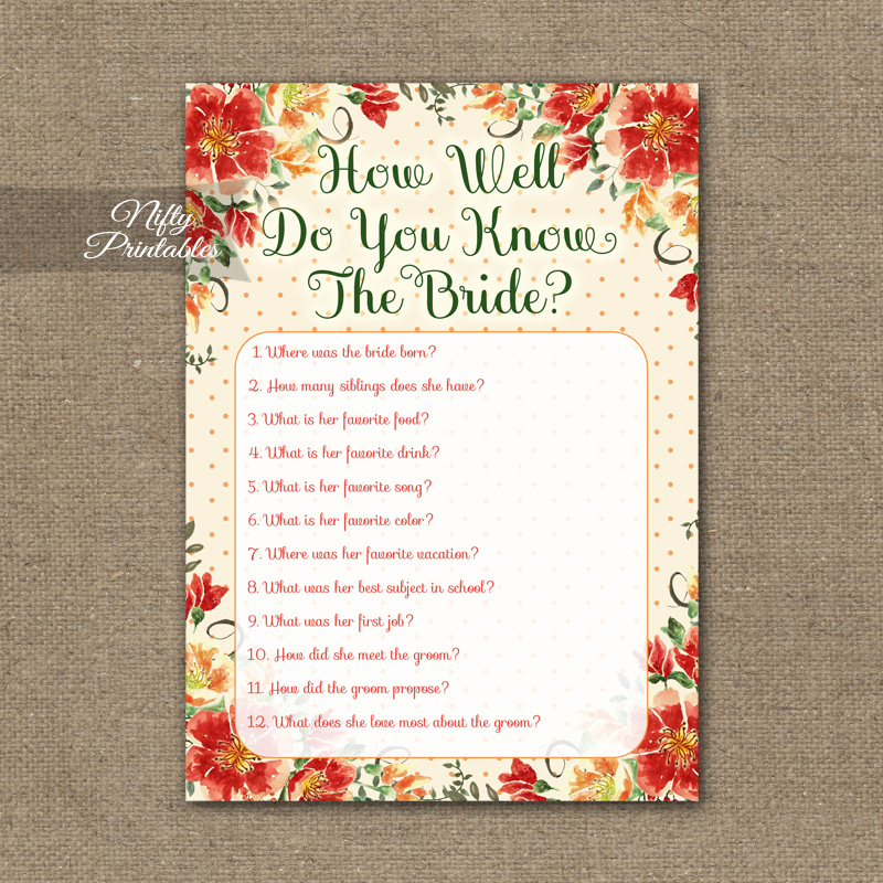 photograph about How Well Do You Know the Bride Printable referred to as How Nicely Do Oneself Realize The Bride - Autumn Floral