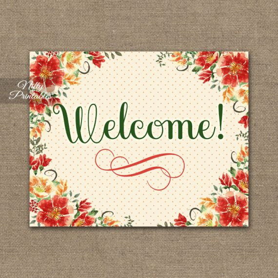 Welcome Sign - Autumn Floral
