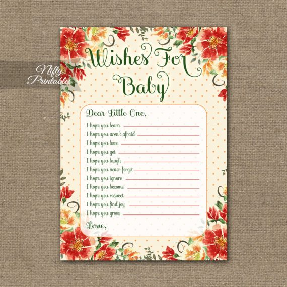 Wishes For Baby Shower Game - Autumn Floral