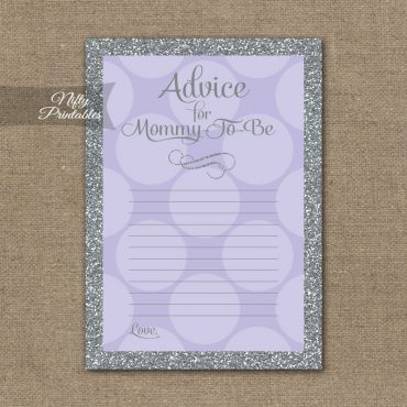 Advice For Mommy Baby Shower Game - Lilac Dots Silver