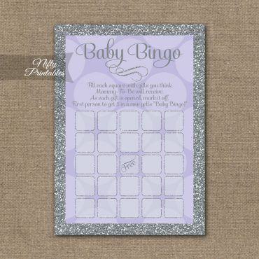 Baby Shower Bingo Game - Lilac Dots Silver
