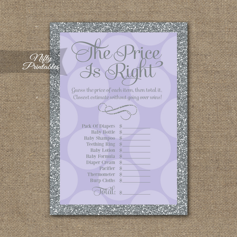 Price Is Right Baby Shower Game - Lilac Dots Silver