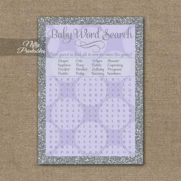 Baby Shower Word Search Game - Lilac Dots Silver