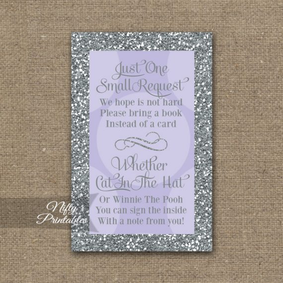 Bring A Book Baby Shower Insert - Lilac Dots Silver