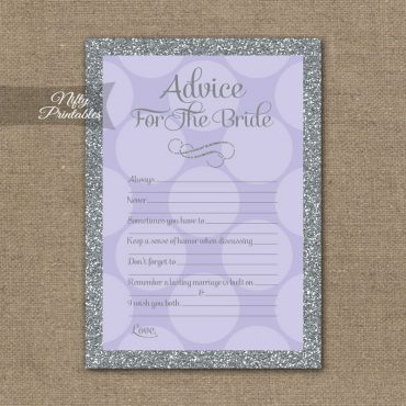 Bridal Shower Advice Cards - Lilac Dots Silver