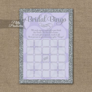Bridal Shower Bingo Game - Lilac Dots Silver