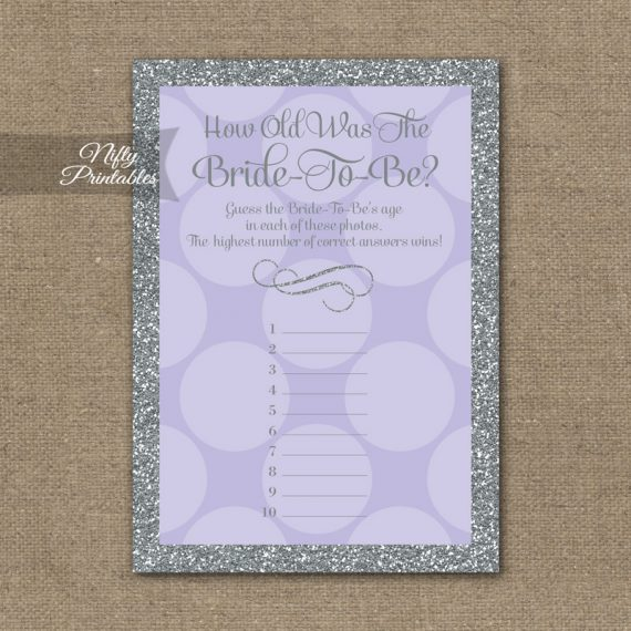 How Old Is The Bride Shower Game - Lilac Dots Silver