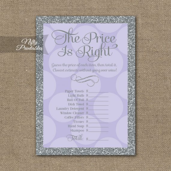 Price Is Right Bridal Shower Game - Lilac Dots Silver