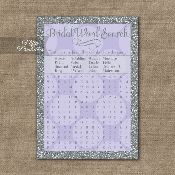 Bridal Shower Word Search Game - Lilac Dots Silver