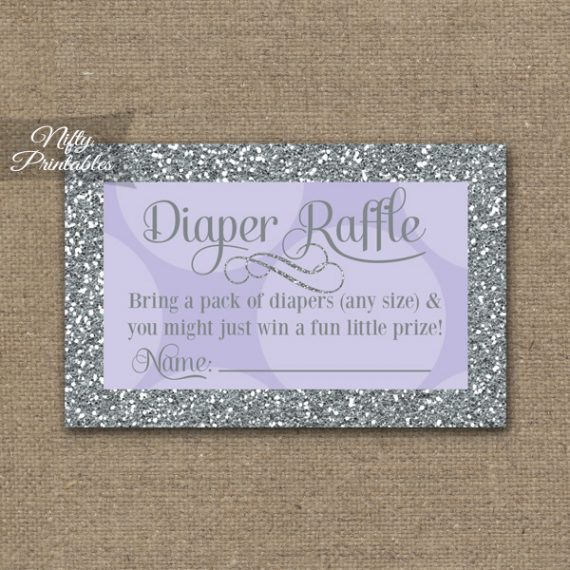 Diaper Raffle Baby Shower - Lilac Dots Silver