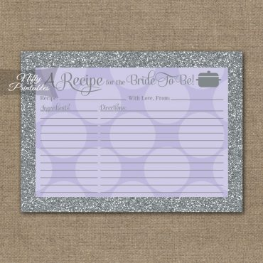 Bridal Shower Recipe Cards - Lilac Dots Silver
