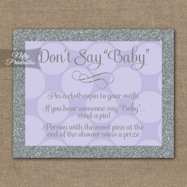 Don't Say Baby Shower Game - Lilac Dots Silver