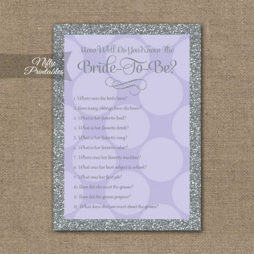 How Well Do You Know The Bride - Lilac Dots Silver