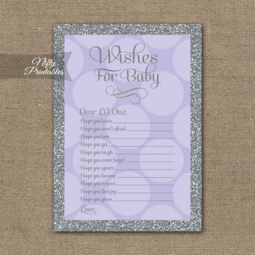 Wishes For Baby Shower Game - Lilac Dots Silver