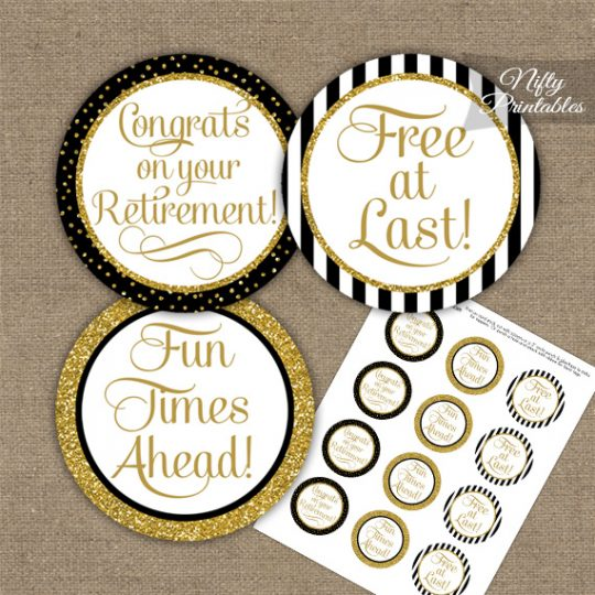 Retirement Cupcake Toppers - Black Gold