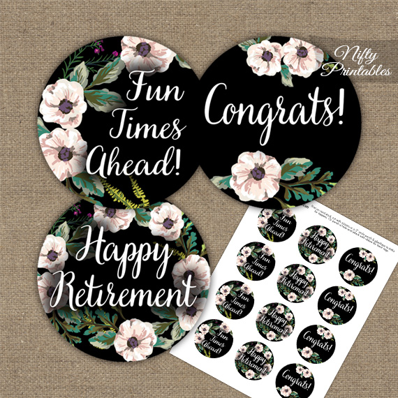 Retirement Cupcake Toppers Black White Floral Nifty Printables