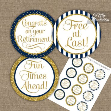 Retirement Cupcake Toppers - Navy Blue Gold