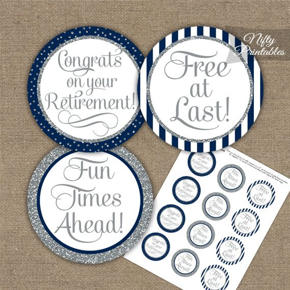 Retirement Cupcake Toppers - Navy Blue Silver
