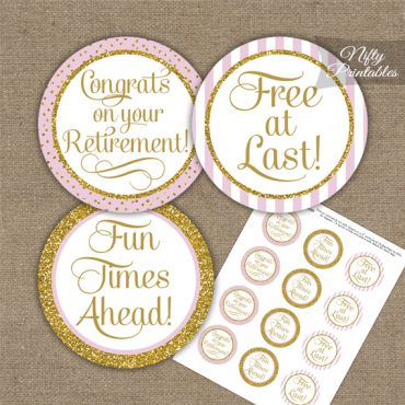 Retirement Cupcake Toppers - Pink Gold