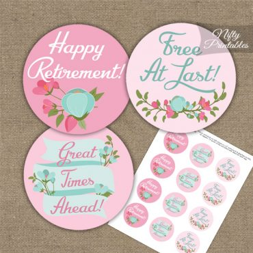 Retirement Cupcake Toppers - Pink Mint Floral