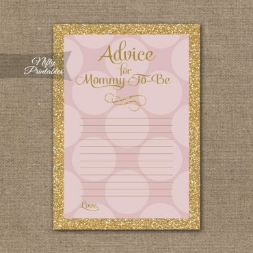 Advice For Mommy Baby Shower Game - Pink Dots Gold