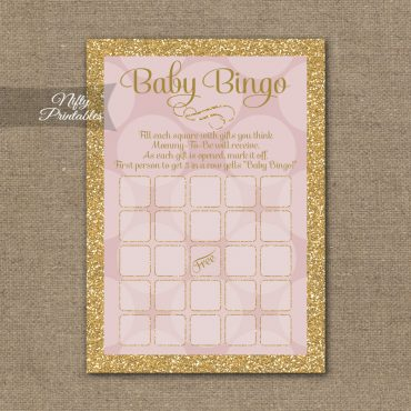 Baby Shower Bingo Game - Pink Dots Gold