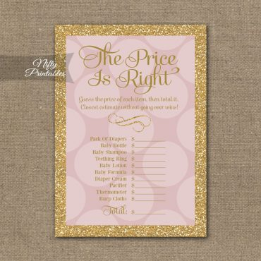 Price Is Right Baby Shower Game - Pink Dots Gold