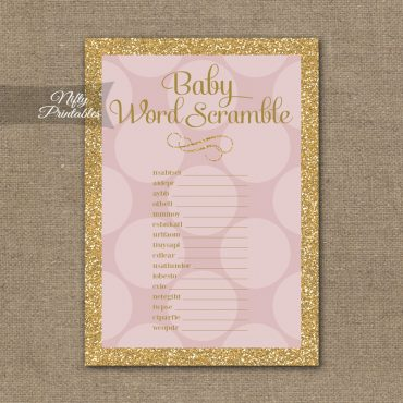 Baby Shower Word Scramble Game - Pink Dots Gold