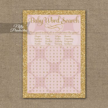 Baby Shower Word Search Game - Pink Dots Gold