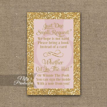 Bring A Book Baby Shower Insert - Pink Dots Gold