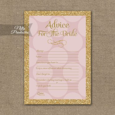 Bridal Shower Advice Cards - Pink Dots Gold