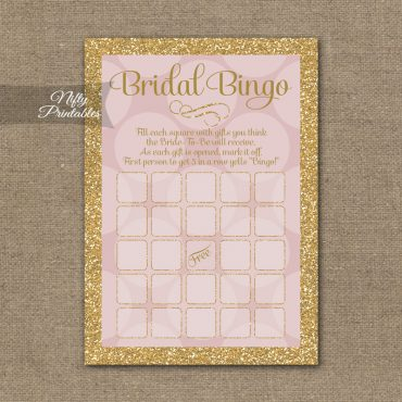 Bridal Shower Bingo Game - Pink Dots Gold