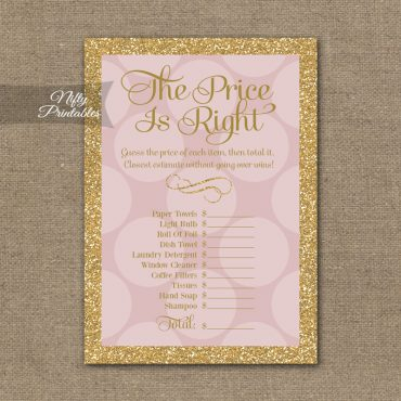 Price Is Right Bridal Shower Game - Pink Dots Gold