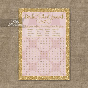 Bridal Shower Word Search Game - Pink Dots Gold