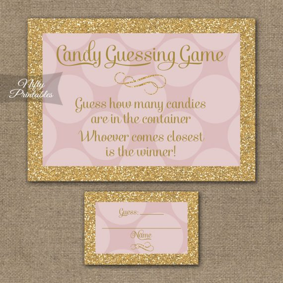 Candy Guessing Game - Pink Dots Gold