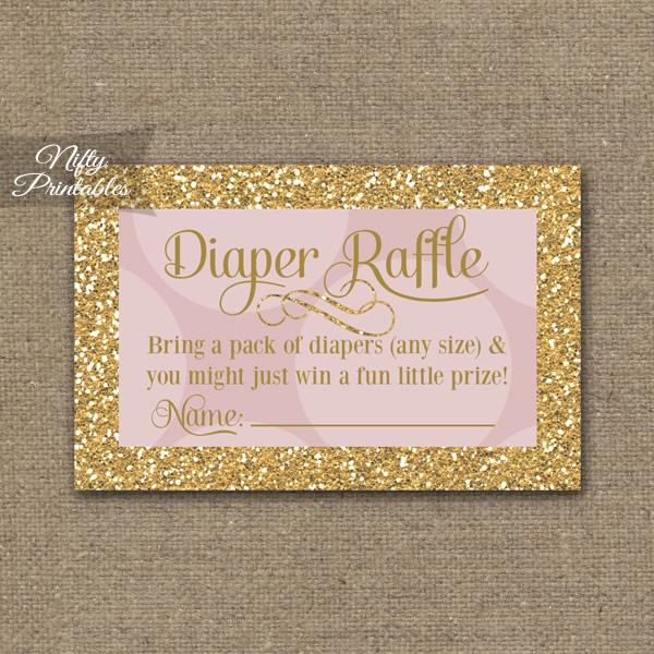 Diaper Raffle Baby Shower - Pink Dots Gold