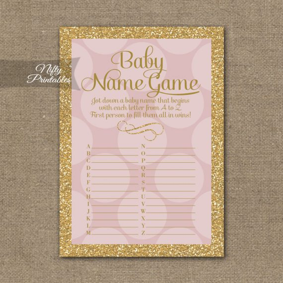 Name Game Baby Shower - Pink Dots Gold