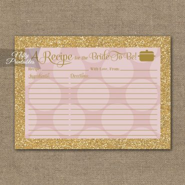 Bridal Shower Recipe Cards - Pink Dots Gold