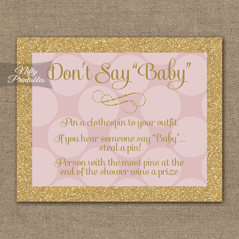 Don't Say Baby Shower Game - Pink Dots Gold