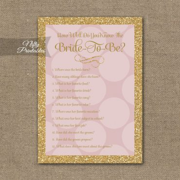 How Well Do You Know The Bride - Pink Dots Gold