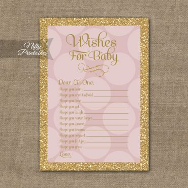 Wishes For Baby Shower Game - Pink Dots Gold