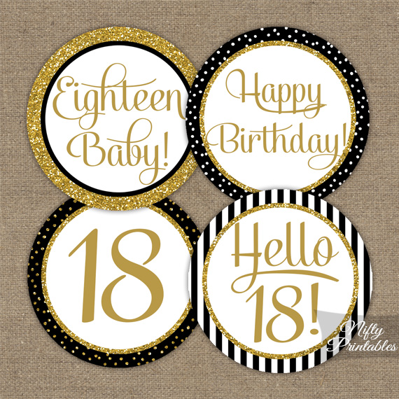 18th Birthday Cupcake Toppers Black Gold