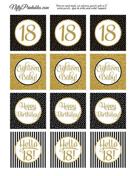 18th Birthday Cupcake Toppers - Black Gold